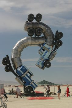 A truck sculpture at the Burning Man festival