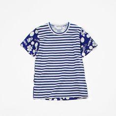 COMME des GARÇONS COMME des GARÇONS T-shirt print A × border navy × white