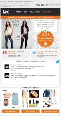 Lee showed the latest tweets from the brand's Twitter handle directly in this email, updated in real-time. #emailmarketing #socialmedia