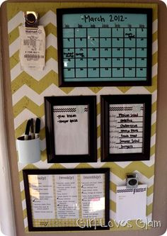 DIY organization board - features calendar, to-do list, menu, cleaning tasks, running grocery lists