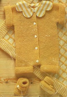 Vintage Baby Sleep Suit and Shoes, Knitting Pattern PDF No. 0572 From TimelessOne Shop