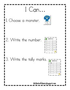Great math station to practice tallying. Choose a monster card, write the number and draw the tally. FREEBIE
