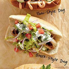Crowd-Pleasing Hot Dogs  | Greek-Style Dogs | MyRecipes.com