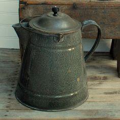 gray graniteware coffee pot