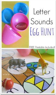 egg hunt, easter eggs, letter sounds