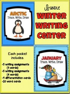 This bundle contains:  --10 writing assignments (3 words) --10 writing assignments (4 words) --2 story paper --18 extension cards: these are extensions of the assignments which differentiate the assignment --40 word cards --2 center signs --16 group signs $