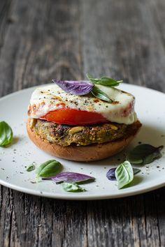 Basil, Garlic, + Tomato VeggieBurgers