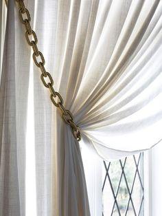 How to Make Gold Chain Curtain Tiebacks  http://www.hgtv.com/handmade/how-to-make-gold-chain-curtain-tiebacks/index.html?soc=pinterest