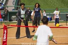 The First Lady on the tennis court!