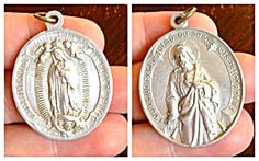 $44 XL Vintage Our Lady Of Guadalupe Jesus Christ Medal Mexico (Image1)