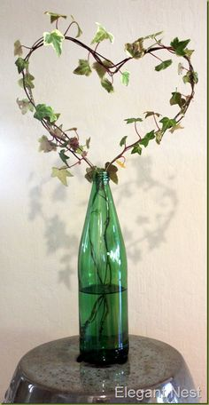 Wire topiary in a wine bottle