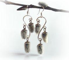 Pussy willow earrings. qute idea