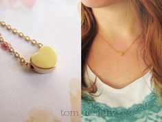 Tiny Silver Heart Necklace  Silver Necklace Custom by tomdesign, $18.00