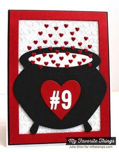 Fluttering Hearts Die-namics, Heart STAX Die-namics, Hugs and Kisses Cover-Up Die-namics, Little Numbers Die-namics, Rectangle Frames Die-namics, Witch's Cauldron Die-namics - Julie Dinn #mftstamps