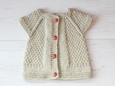 Ligth Grey Baby Girl Knitted Vest Knit Baby Vest by TinySmiley
