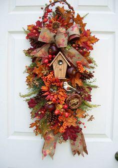 Swag--Wreath Alternative ~ love the tiny bird & birdhouse!  -http://www.timelessfloralcreations.com/