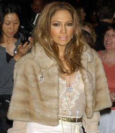 Jennifer Lopez in a vintage mink stole