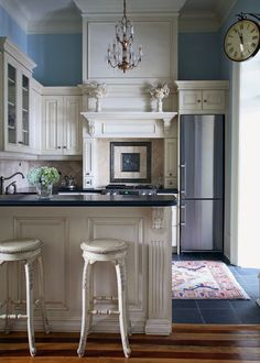 Kitchen :: White Cabinets, Blue Walls :: Carol Postar's four story brownstone in Ontario, Canada.  Photographer: Robin Stubbert GAP Interiors