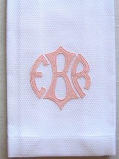 Applique Monogram Guest Towel by Grace Hayes Linens