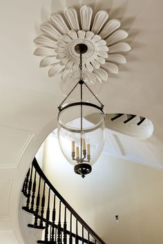 Beautiful light fixture and ceiling medallion