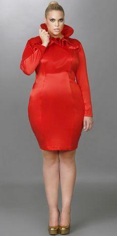 """Monif C Plus sizes Fall 2012: """"Camille"""" HIgh Ruffle Neck Dress So cute"""