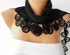 Black  Shawl  - Cotton  Scarf -  Cowl with Lace Edge - fatwoman. $15.00, via Etsy.