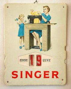 Singer ephemera - Singer sewing machine calendar.