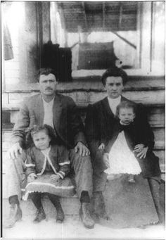 Noah Webster Wallace and his wife, Alice Wallace, with their son and daughter in Alabama - Creek - circa 1875