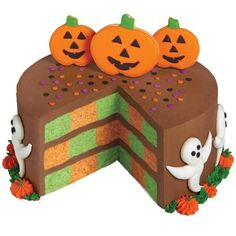 Bake up one spook-tacular cake this Halloween using the Wilton Checkerboard Cake Pan. Tiny piped pumpkins add border interest to this happy hallowed cake. pumpkin cakes, decorating ideas, pumpkins, ghosts, checkerboard cake, halloween foods, halloween treats, halloween cakes, happy halloween