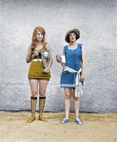 """Washington Tidal Basin Beauty Contest -- August 5, 1922."" Misses Eva Fridell, 17, and Anna Niebel. National Photo Company glass negative. Colorized"