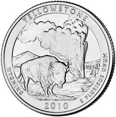 """Reverse of 2010 """"America the Beautiful"""" United States quarter dollar #coin, depicting Yellowstone National Park. Available now at Lear with IRA Eligibility. Call (800) 783-1407 for more info or visit http://www.learcapital.com/encyclopedia/269/moredetail.html"""