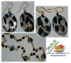 ZARCILLOS Y COLLAR ANIMAL PRINT  Elaborado por la Artesana Diseñadora Milady Arévalo en Cobre Bañado en Oro