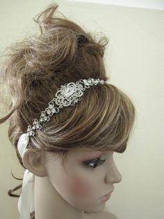 Wedding headband--- bridal Hair Accessories, crystal wedding headband,  wedding hair accessories, bridal headband ribbon, bridal headband. $69.00, via Etsy.