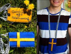 """In Sweden, it is common to hang small gifts and trinkets around a graduate's neck as tokens of your congratulations and well-wishes. I made this for my little brother Gustav. It reads: """"Congratulations Gustav (08/06/2012) on your graduation-day."""" According to the recipient it also works splendidly as a party cellphone case / money purse. :)"""