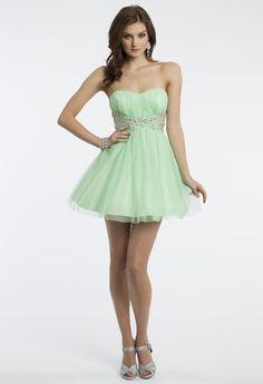 Camille La Vie Short and Strapless Glitter Prom Dress