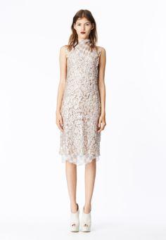 LOOK 19 Ice pink mosaic sequin shift dress layered over gray cross print crinkle chiffon cowl neck bias sheath.