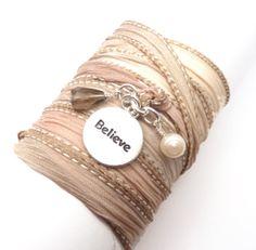 """Believe"" Hand Dyed Silk Bracelet by charmeddesign1012"