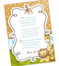 wording to ask for baby books instead of the card | Please Bring a Book Instead Of A Card Jungle Baby Shower Invitation ...