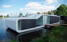 Watervilla De Omval of Amstel River Floating House Modern Houseboat from Amsterdam