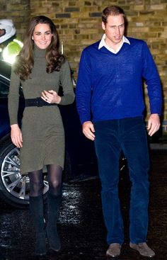 sweater dress= awesome. guy's face= priceless. I think this is the royal  couple, but i doubt it;