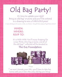 Great idea for a Thirty-One party - I've got two so far scheduled to support a local Women's charity :) #thirtyonegifts #thirtyone