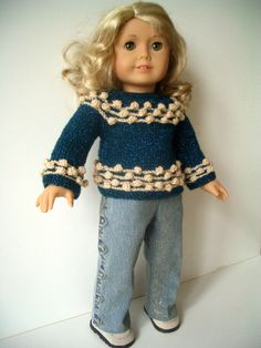 OOAK   ONE OF A KIND !!!!  doll clothes Hand Knit 2 pc sweater & jeans set by KNITnPLAY, $19.99