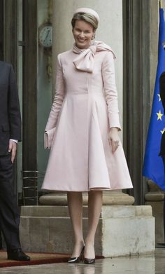 Queen Mathilde at the Elysee palace in Paris
