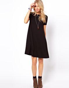 ASOS | Black swing dress. love the way it flows on the runway