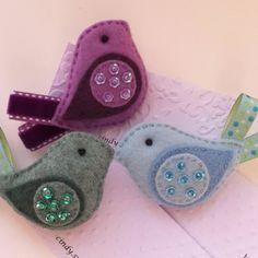 little birds, ornament, birdi brooch, bird brooch, felt birdi