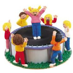 Ups and Downs! Cake. Kids will flip when they spot this trampoline cake! Transform a two-layer 9-in Round Pan cake into a where-the-action-is setting with fondant details and royal icing acrobats and spotters.