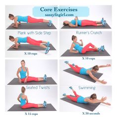 Core Exercises  These 4 exercises are great for strengthening your core. I do them at least 3x a week after my training run.   #abs #fitness