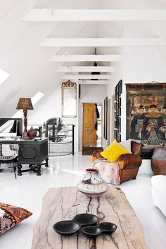 Bohemian style with white ceiling, walls and floor