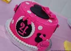 Hot pink  black and white mini mousse cake