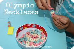 Olympic Cereal Necklaces from Coffee Cups and Crayons